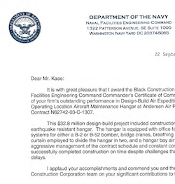 BCC Awarded the Naval Facilities Engineering Command Commander's Certificate of Commendation